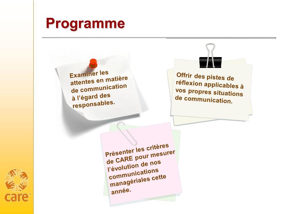 Programme Examiner les attentes en matière de communication à l'égard des responsables.