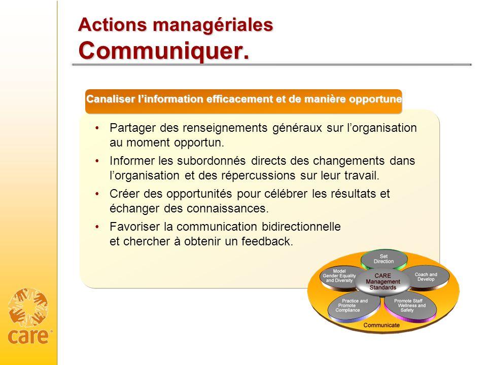 Actions managériales Communiquer.