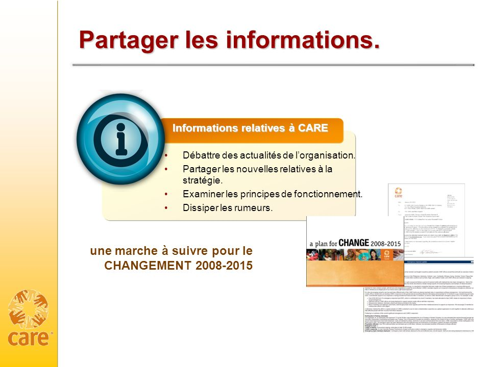 Partager les informations.