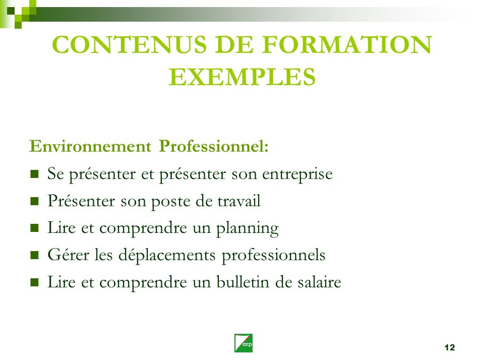 CONTENUS DE FORMATION EXEMPLES