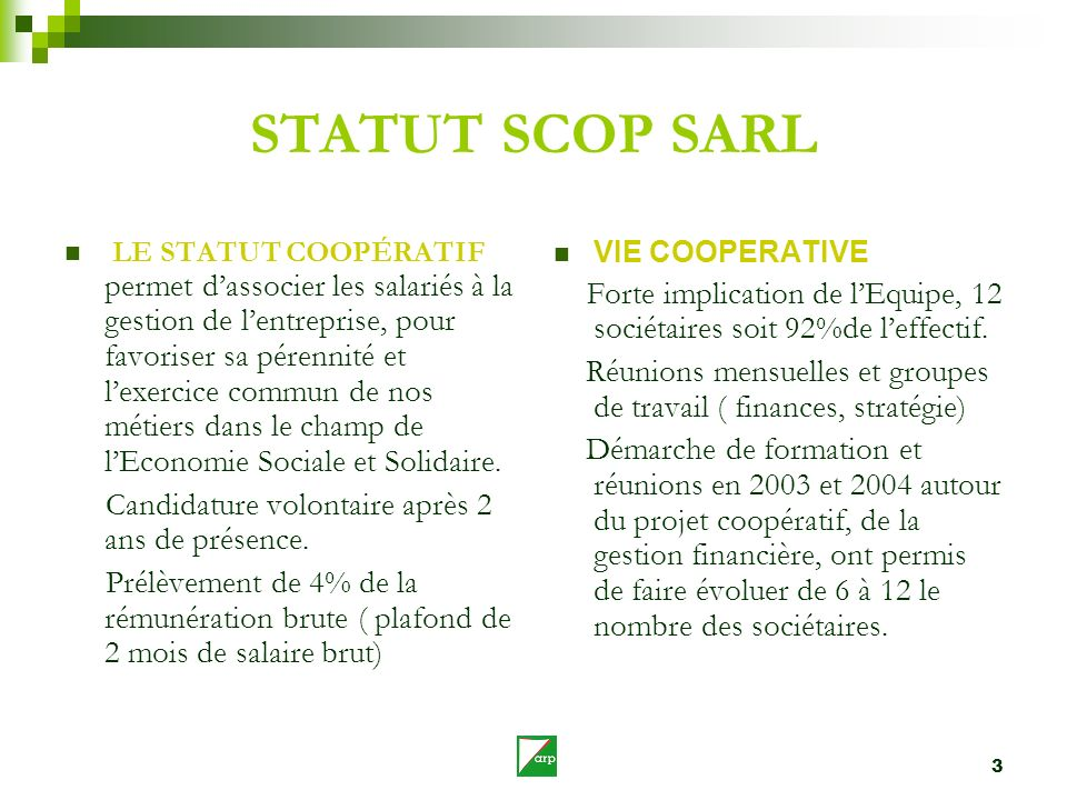 STATUT SCOP SARL