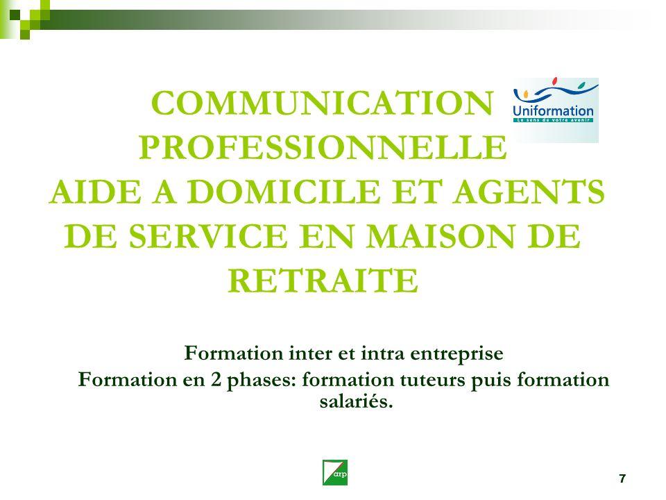 COMMUNICATION PROFESSIONNELLE AIDE A DOMICILE ET AGENTS DE SERVICE EN MAISON DE RETRAITE