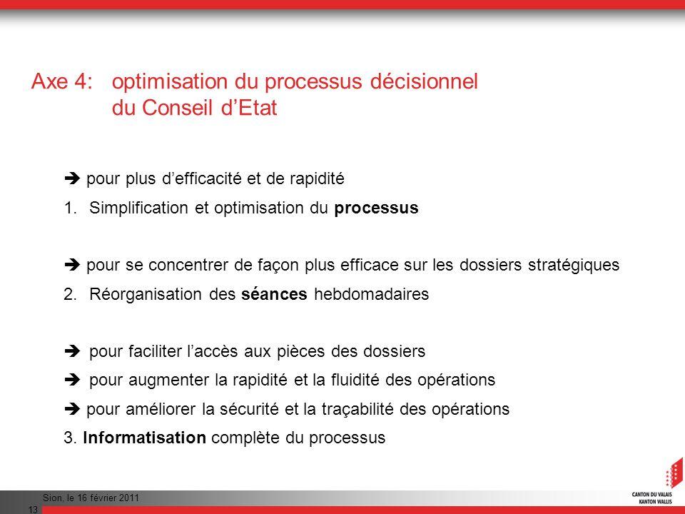 Axe 4: optimisation du processus décisionnel du Conseil d'Etat
