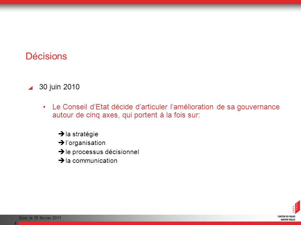 Décisions 30 juin 2010. Le Conseil d'Etat décide d'articuler l'amélioration de sa gouvernance autour de cinq axes, qui portent à la fois sur: