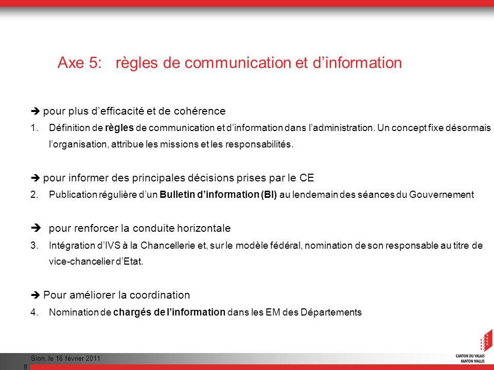 Axe 5: règles de communication et d'information