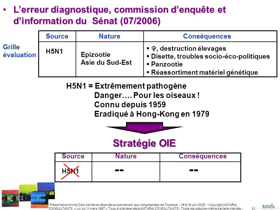 L'erreur diagnostique, commission d'enquête et d'information du Sénat (07/2006)