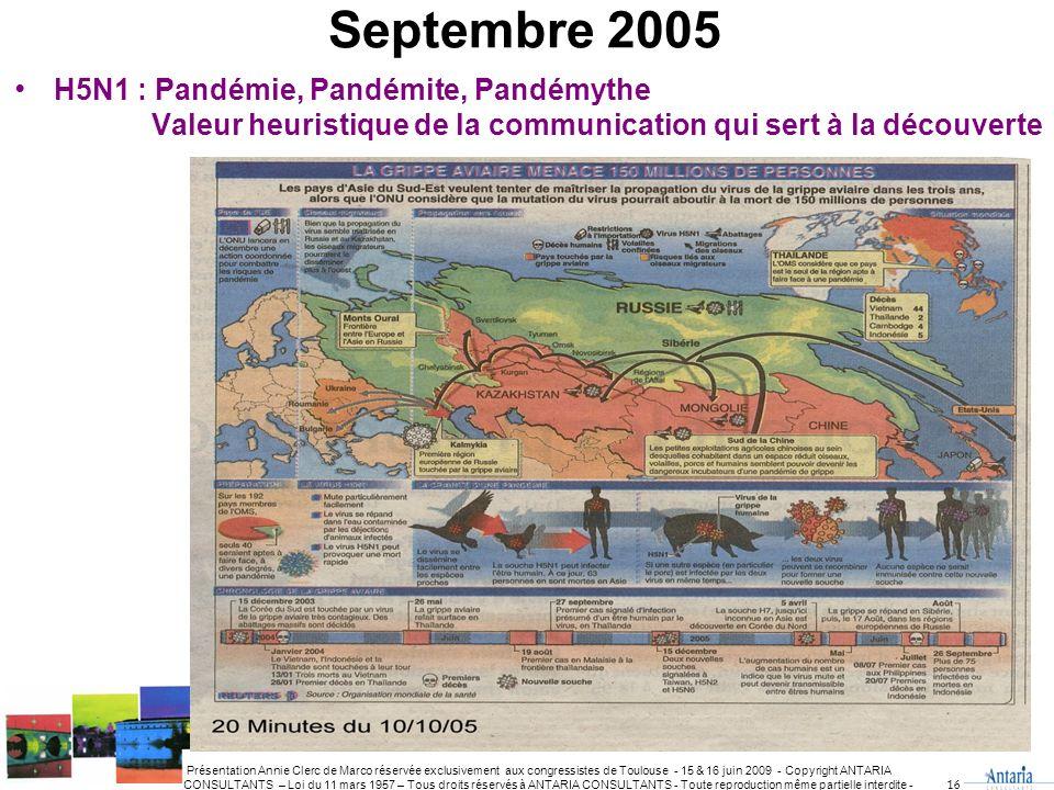 Septembre 2005 H5N1 : Pandémie, Pandémite, Pandémythe