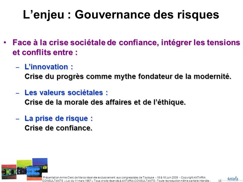 L'enjeu : Gouvernance des risques