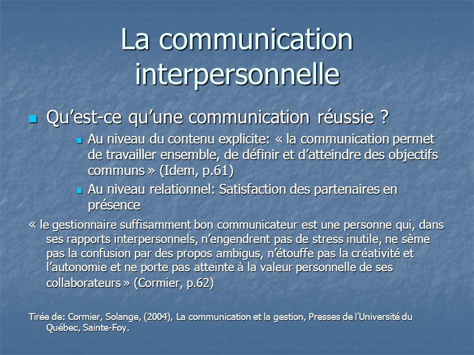 La communication interpersonnelle
