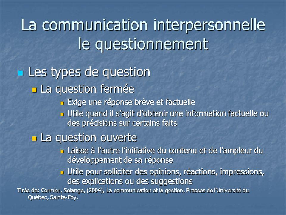 La communication interpersonnelle le questionnement