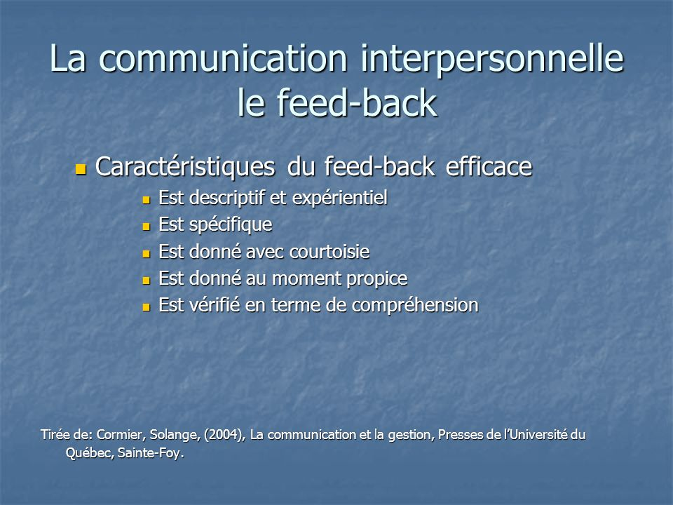 La communication interpersonnelle le feed-back