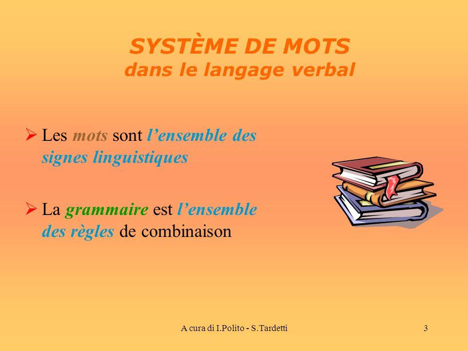 SYSTÈME DE MOTS dans le langage verbal
