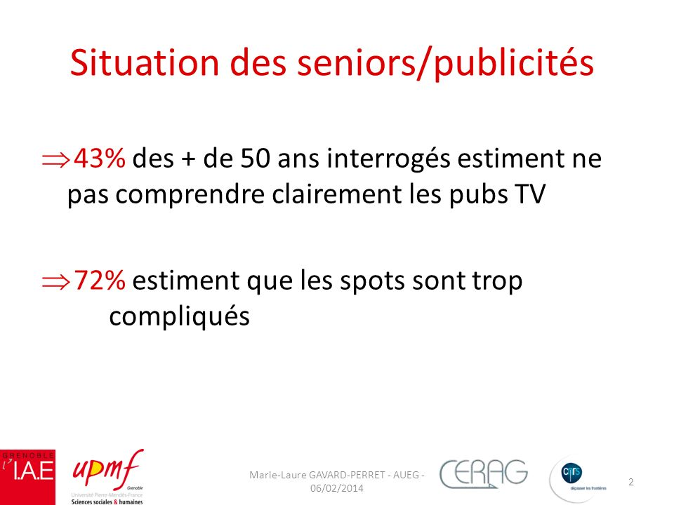 Situation des seniors/publicités