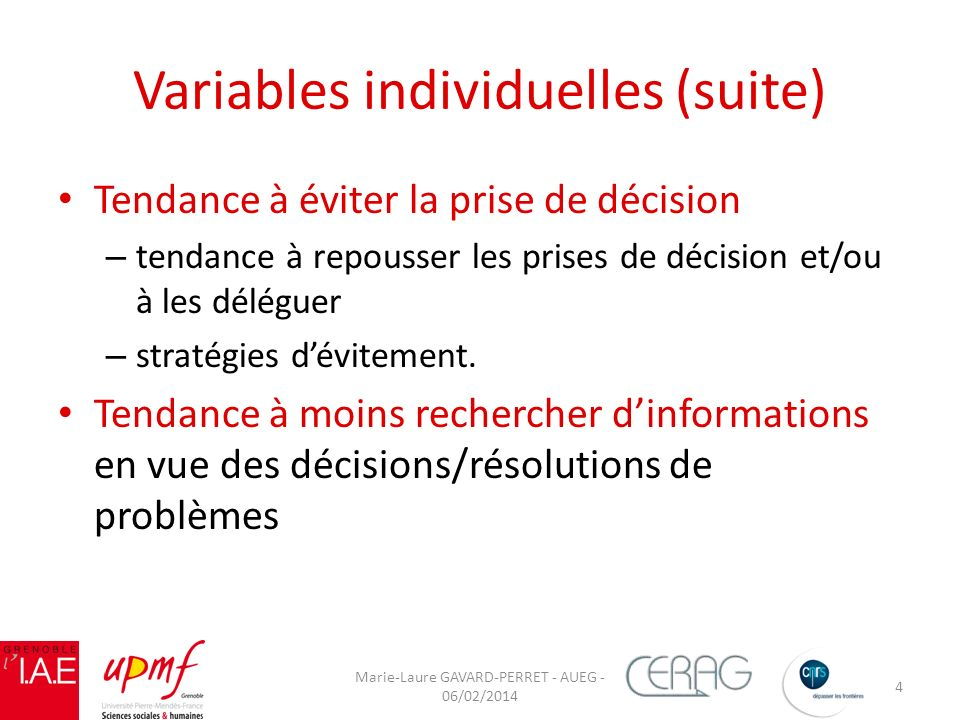 Variables individuelles (suite)