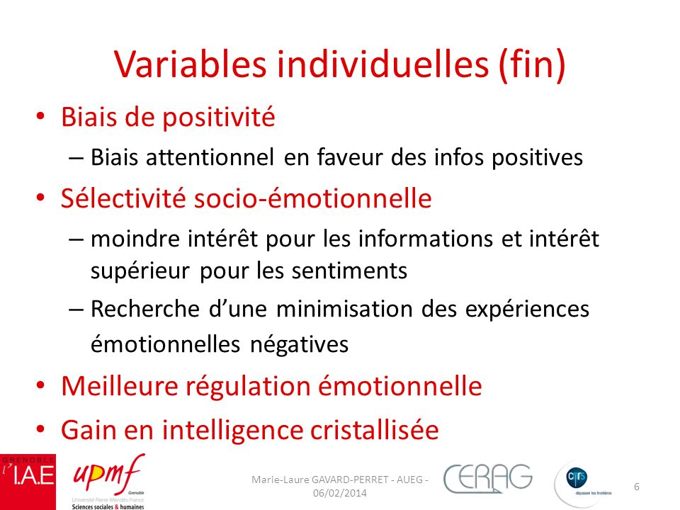 Variables individuelles (fin)