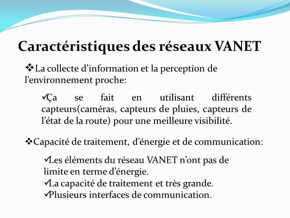 Caractéristiques des réseaux VANET