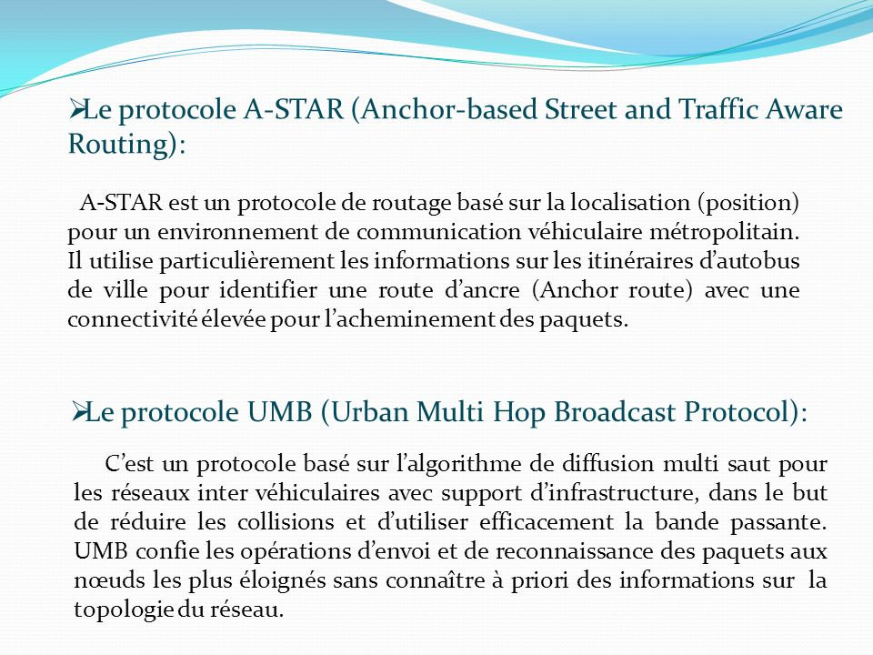 Le protocole A-STAR (Anchor-based Street and Traffic Aware Routing):