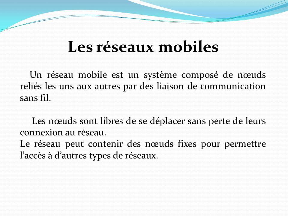 Les réseaux mobiles Un réseau mobile est un système composé de nœuds reliés les uns aux autres par des liaison de communication sans fil.