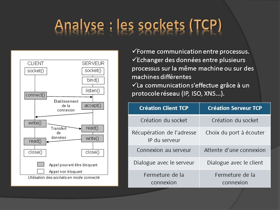 Analyse : les sockets (TCP)