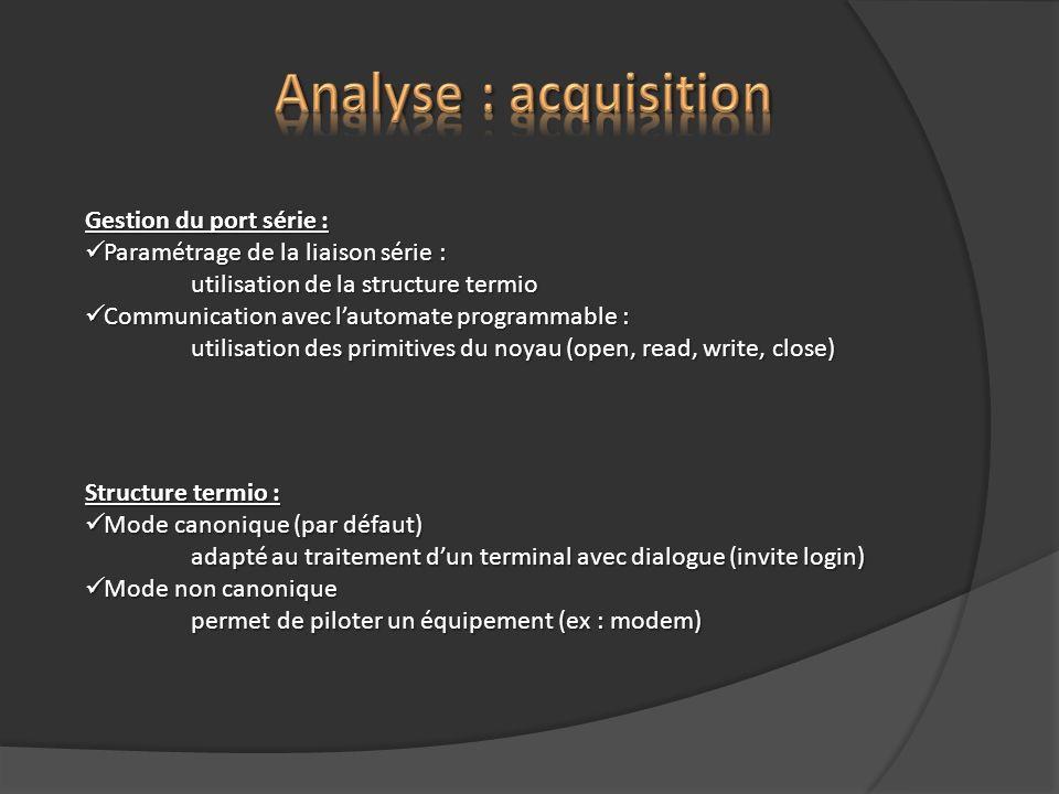 Analyse : acquisition Gestion du port série :