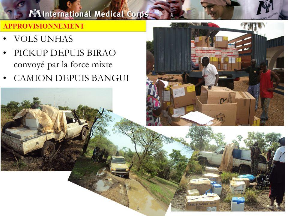 PICKUP DEPUIS BIRAO convoyé par la force mixte CAMION DEPUIS BANGUI