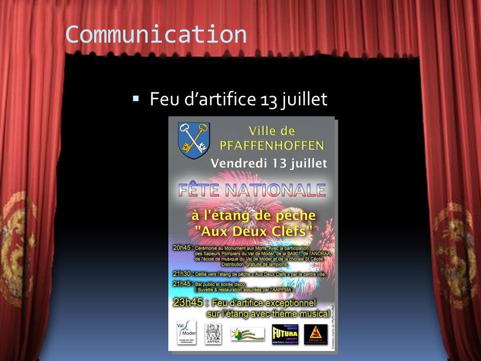 Communication Feu d'artifice 13 juillet
