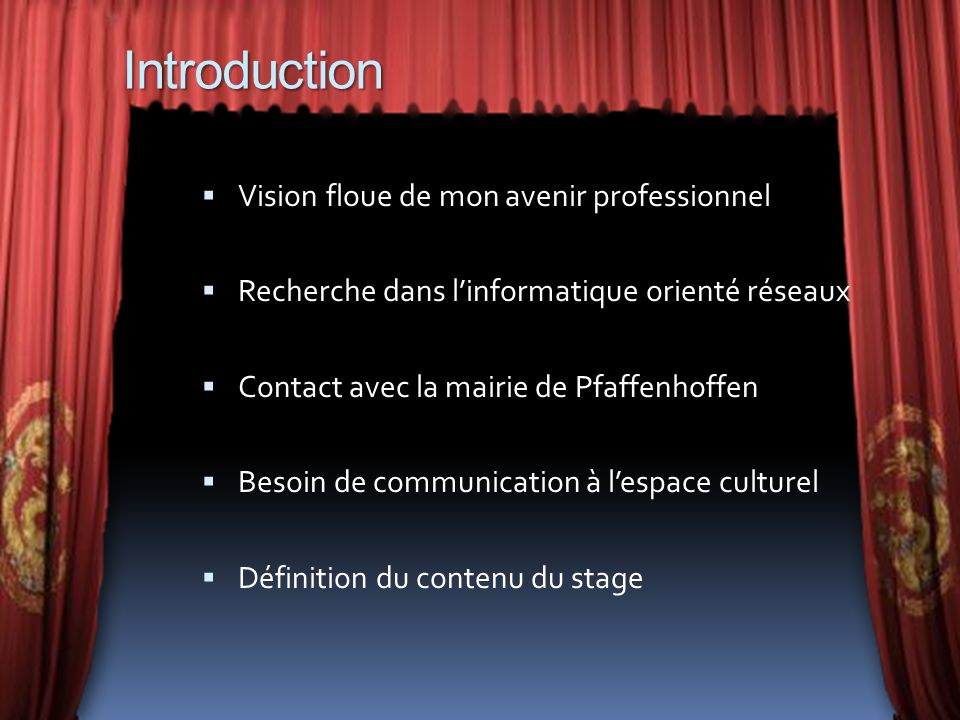 Introduction Vision floue de mon avenir professionnel