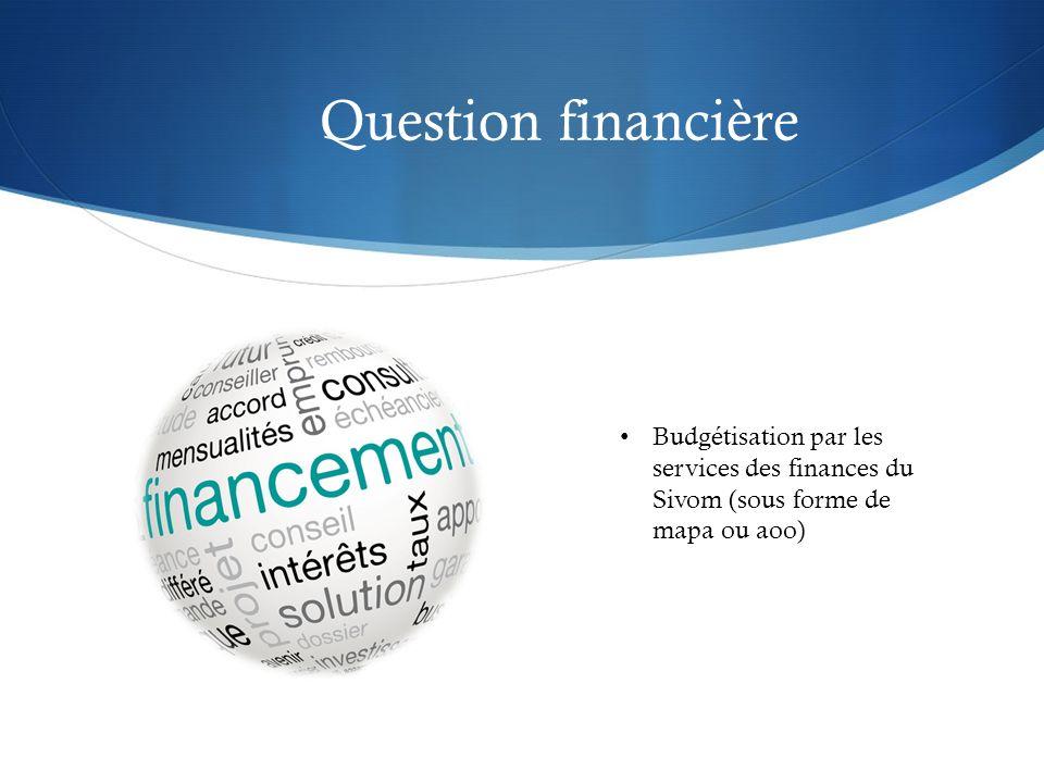 Question financière Budgétisation par les services des finances du Sivom (sous forme de mapa ou aoo)