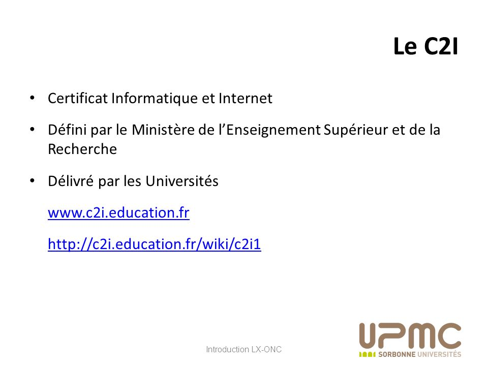 Le C2I Certificat Informatique et Internet