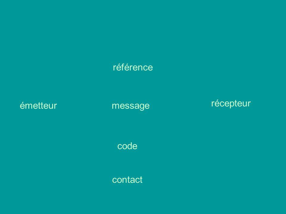 référence récepteur émetteur message code contact