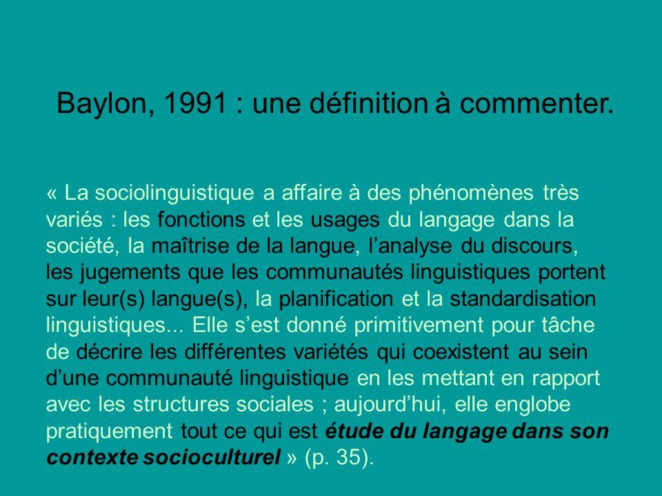 Baylon, 1991 : une définition à commenter.