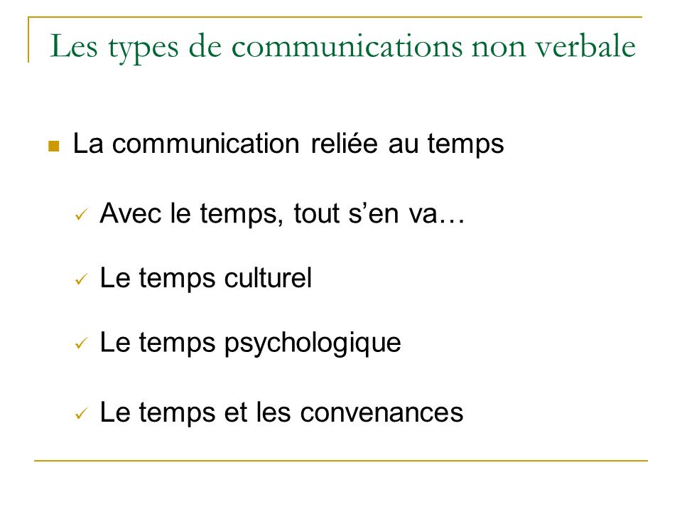 Les types de communications non verbale