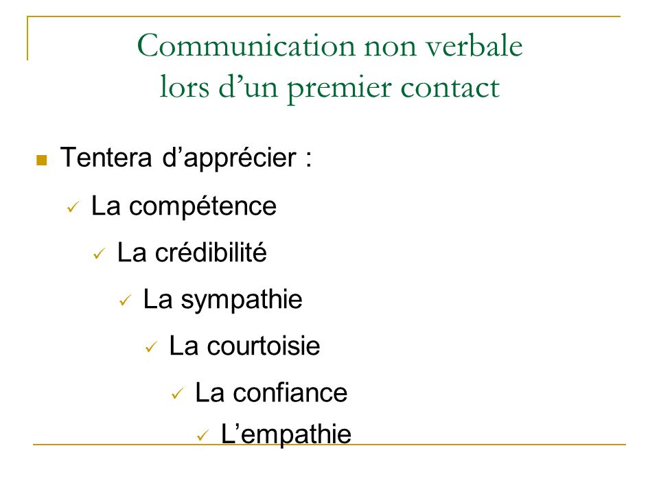 Communication non verbale lors d'un premier contact