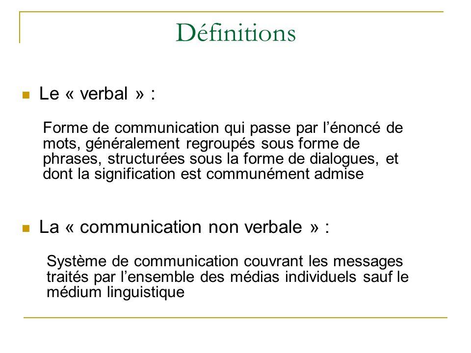 Définitions Le « verbal » :