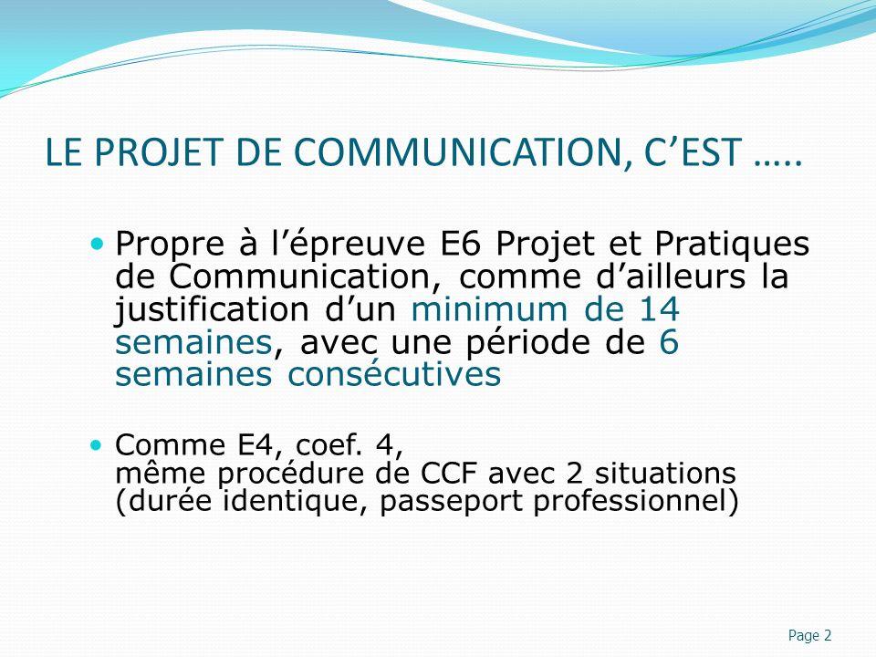 LE PROJET DE COMMUNICATION, C'EST …..