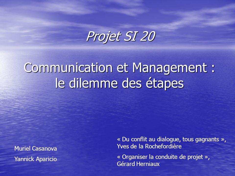 Projet SI 20 Communication et Management : le dilemme des étapes