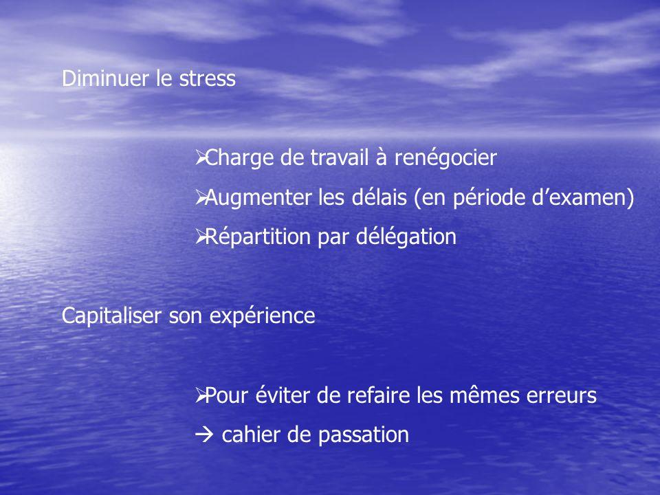 Diminuer le stress Charge de travail à renégocier. Augmenter les délais (en période d'examen) Répartition par délégation.