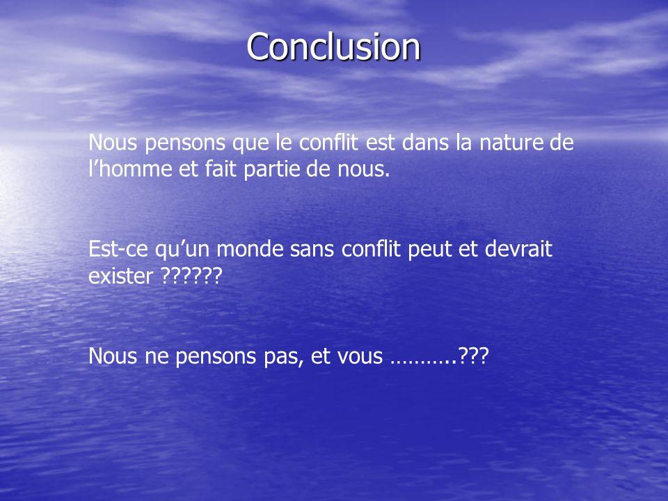 Conclusion Nous pensons que le conflit est dans la nature de l'homme et fait partie de nous.