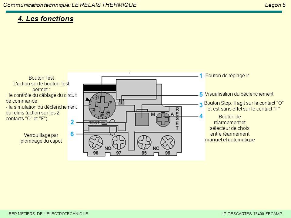 4. Les fonctions Bouton de réglage Ir Bouton Test