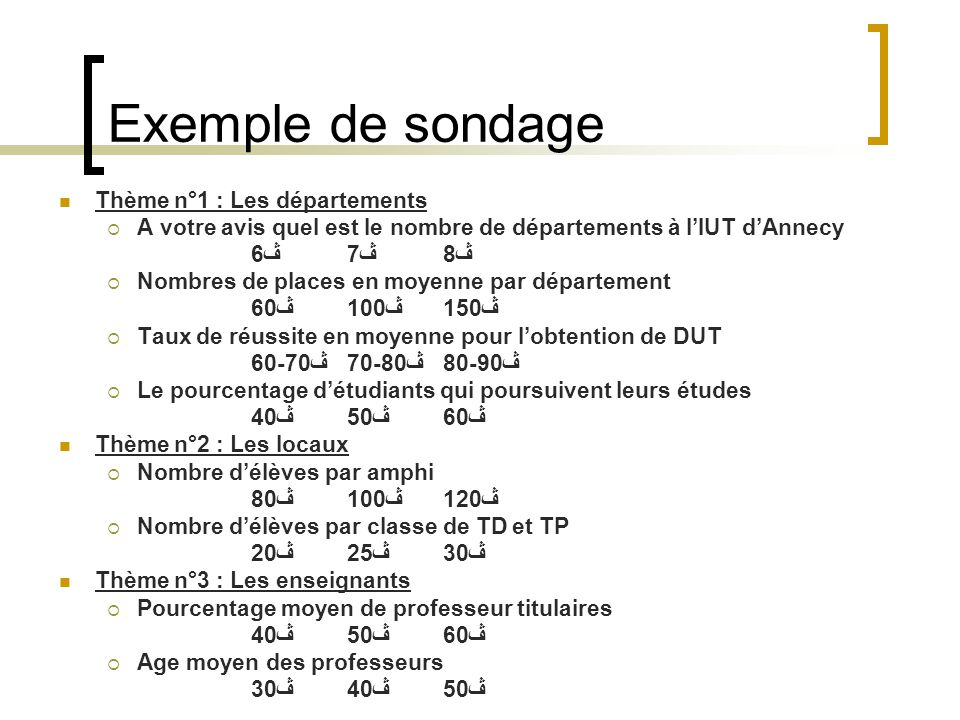 Exemple de sondage Thème n°1 : Les départements