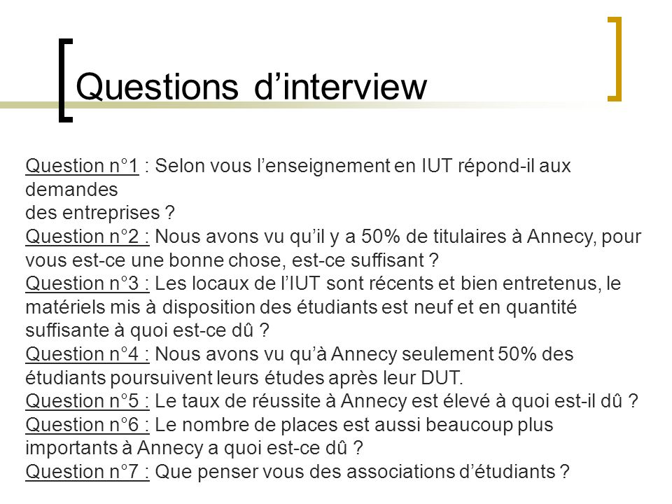 Questions d'interview