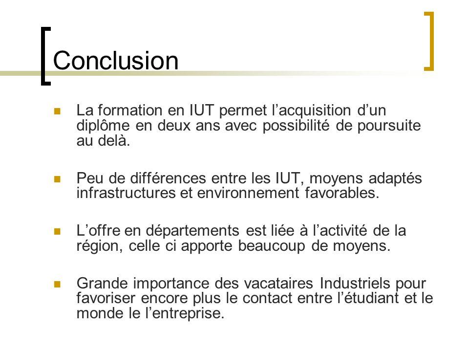 Conclusion La formation en IUT permet l'acquisition d'un diplôme en deux ans avec possibilité de poursuite au delà.