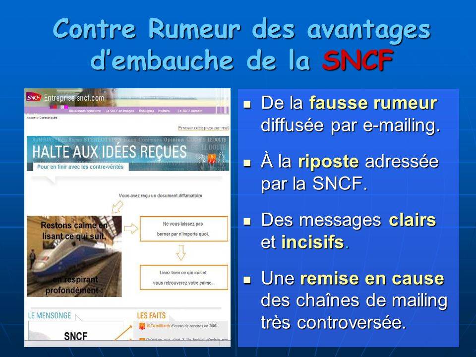 Contre Rumeur des avantages d'embauche de la SNCF