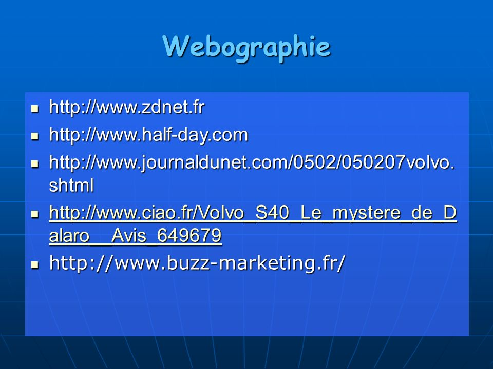 Webographie http://www.zdnet.fr http://www.half-day.com