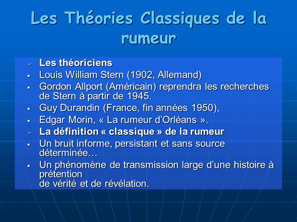 Les Théories Classiques de la rumeur