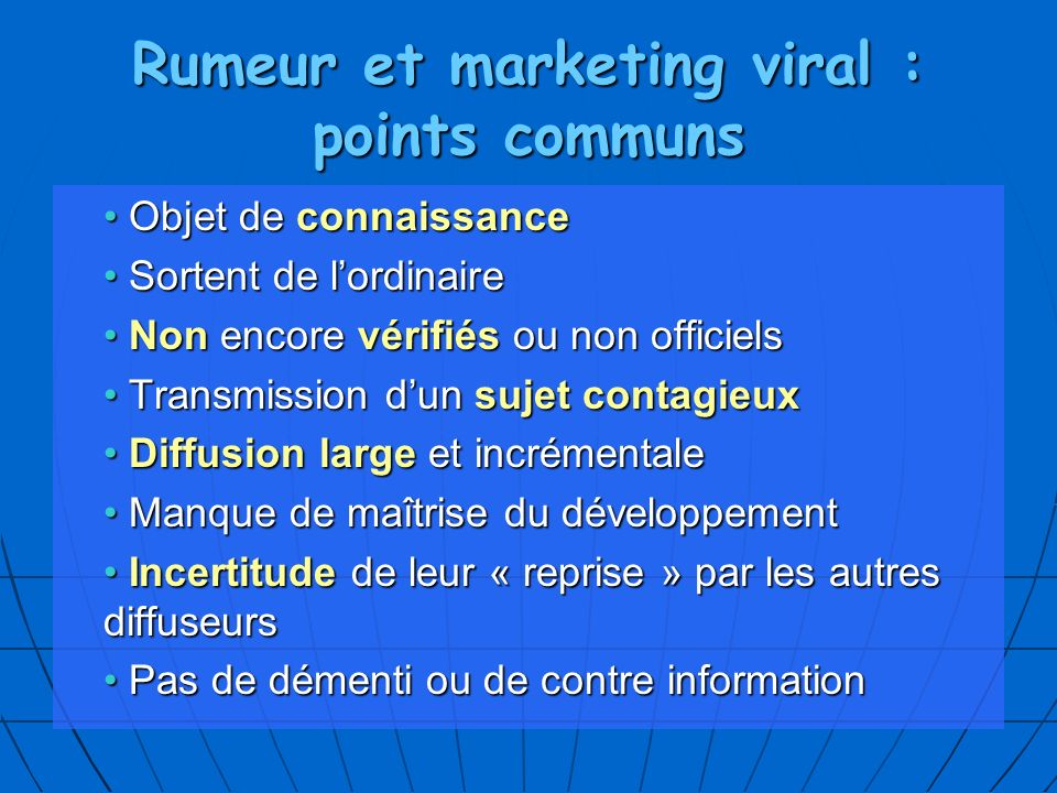 Rumeur et marketing viral : points communs