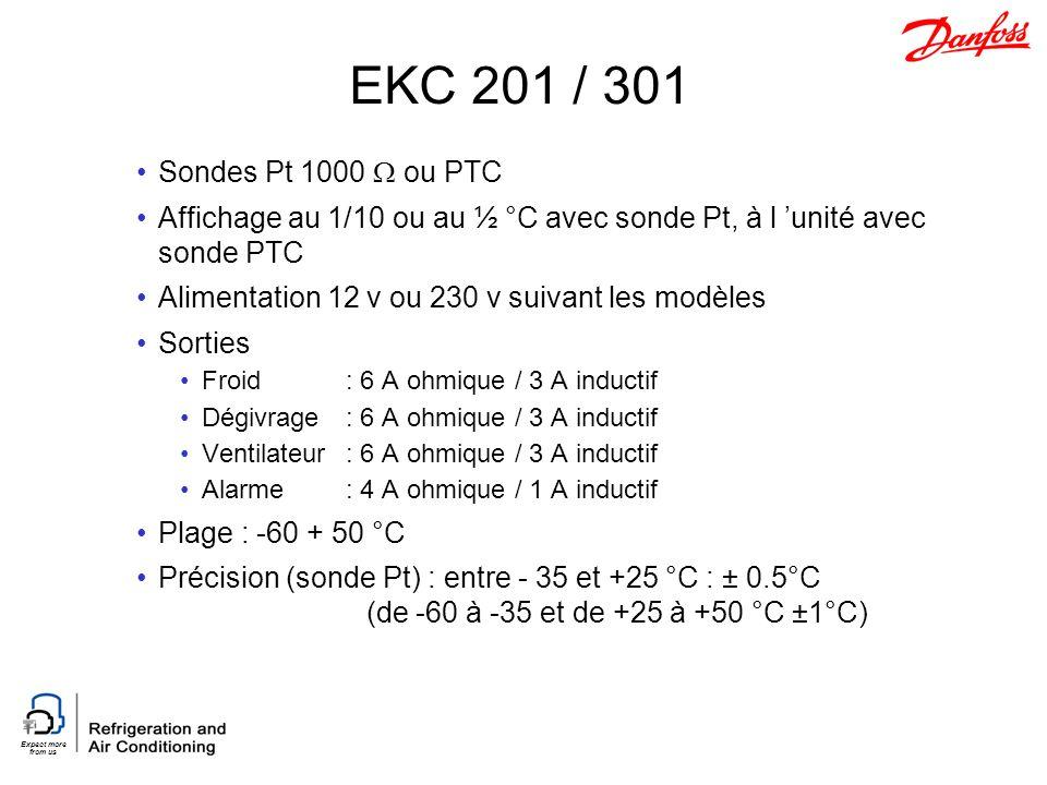 EKC 201 / 301 Sondes Pt 1000  ou PTC. Affichage au 1/10 ou au ½ °C avec sonde Pt, à l 'unité avec sonde PTC.