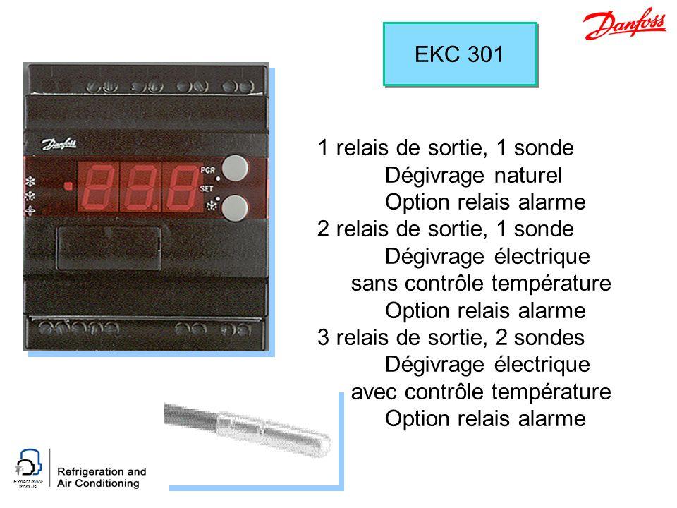 EKC 301 1 relais de sortie, 1 sonde. Dégivrage naturel. Option relais alarme. 2 relais de sortie, 1 sonde.
