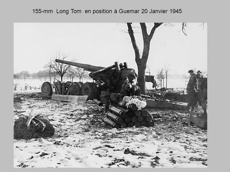 155-mm Long Tom en position à Guemar 20 Janvier 1945