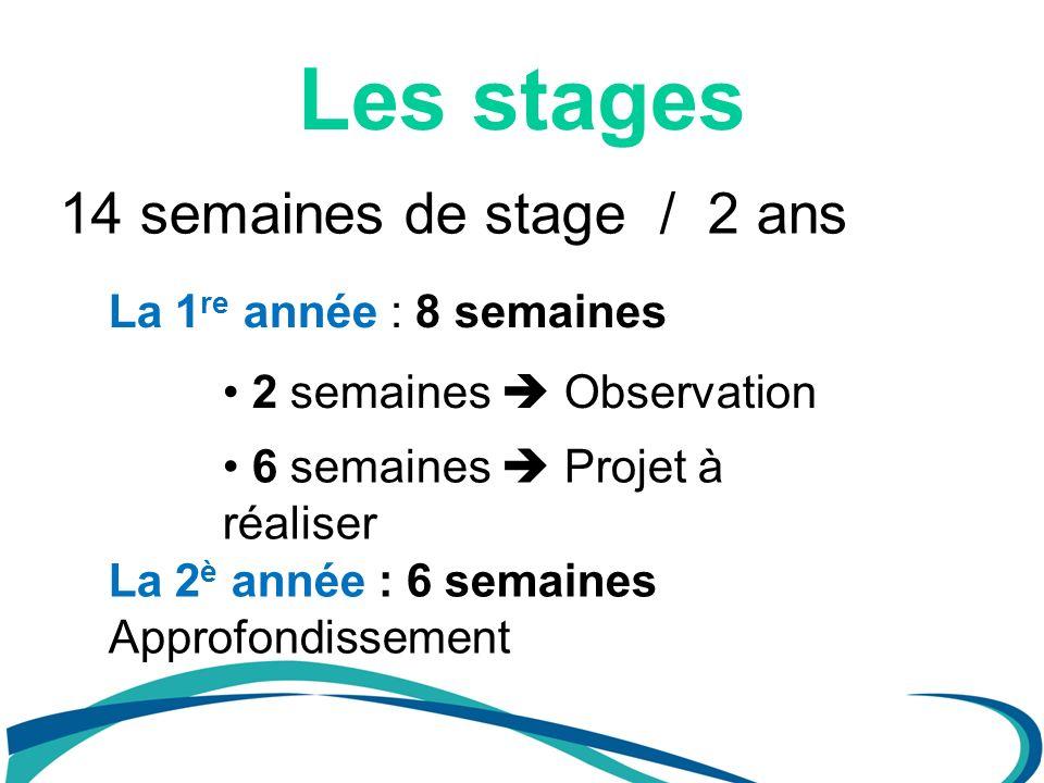 Les stages 14 semaines de stage / 2 ans La 1re année : 8 semaines